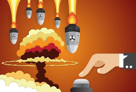 Business of a businessman hand pushing start button, nuclear war concept,paper art Illusztráció