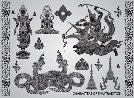king thailand: Set action characters,thai tradition style vector