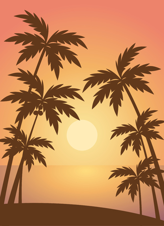 Beach summer with trees lanscape sea scenery sunset scenery vector Illustration