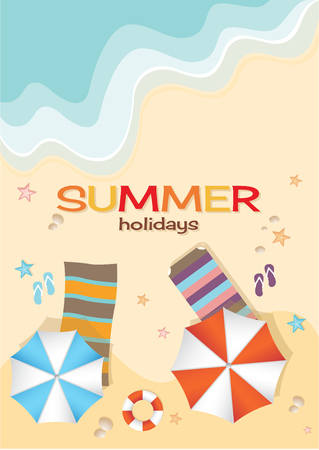 sun: Aerial view of summer beach in flat design style. starfish and summertime, relaxation summer tourism, vector