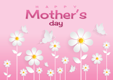 Happy mothers day sweet flower background, can be use for greeting, wedding invitation, woman and valentiness day card. vector illustration. Illustration