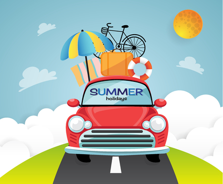 Travel by car. Flat design with Summer Illustration