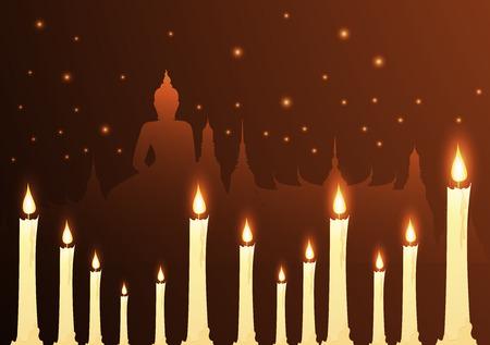 Candles and temple Buddhist with vesak day Ilustração
