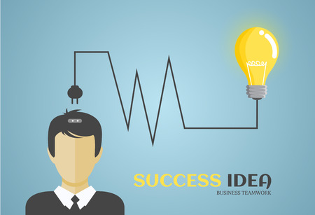 come in: Businessman or manager, man in a suit come up with an idea,vector illustration in flat style Illustration
