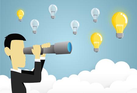 zakenman Doorzoek spyglass. Idee concept. papier kunst stijl vector illustratie. Stock Illustratie