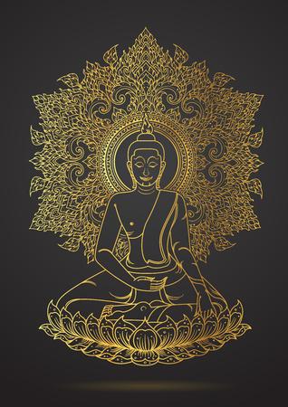 ロータス ゴールド色の輪郭の上に座って仏のタイの伝統