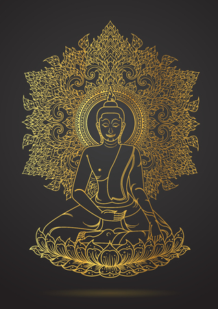 Thai tradition Of Buddha sitting on lotus gold color outline Illustration