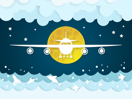 Airplane's with clouds on sea and ocean background.paper art