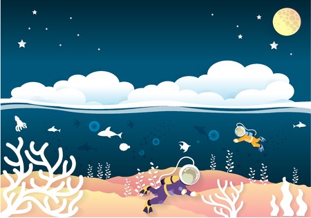 Scuba diver man swimming underwater with cloud and full moon. paper cut