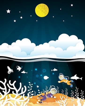 Homme de plongée sous-marine nageant sous l'eau avec les nuages ??et la pleine lune. coupe de papier Banque d'images - 78355765