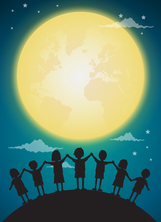 kids playing with full moon,background vector