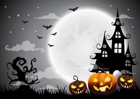 Geisterhaus Und Vollmond Mit Kürbis Und Geist, Halloween ...
