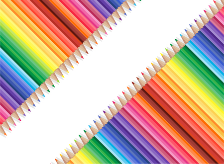 White background with colored pencils,vector Illustration