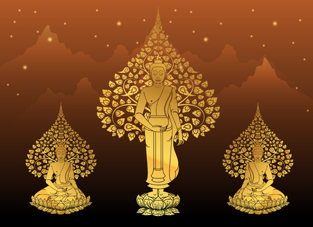 Buddha and Bodhi tree gold color of thai tradition,vesak day. Illustration
