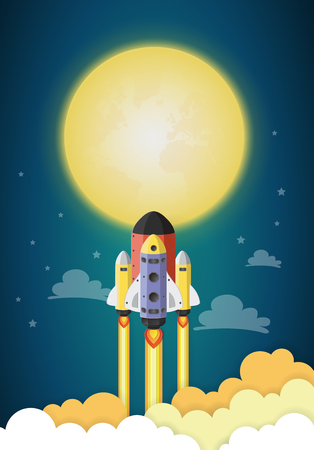 Start up concept. rocket flying on the moon,paper cut.