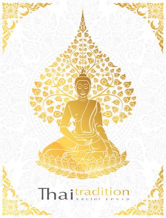 仏菩提木タイ伝統、グリーティング カードのゴールド カラー  イラスト・ベクター素材