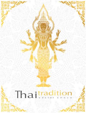 greeting card ramayana Character,buddha thai tradition style.vector