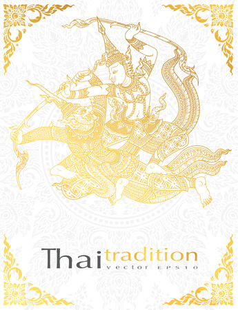 A greeting card ramayana Character battle,thai tradition style.vector.