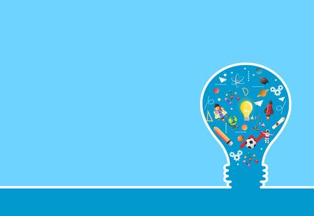 光 bulb.education concept.can 上のアイデアは、layout.vector に使用します。