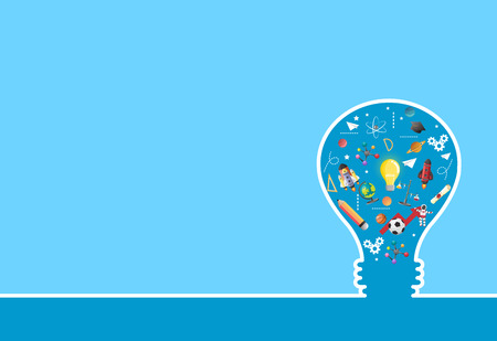 idea on light bulb.education concept.can be used for layout.vector Çizim