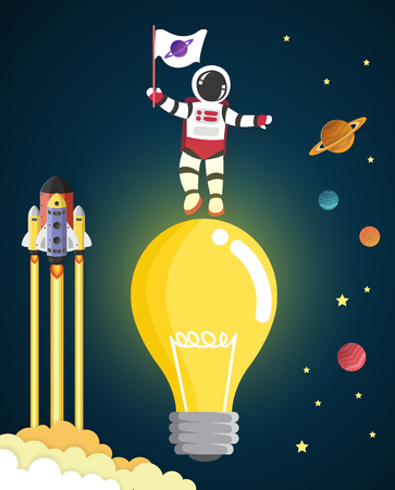 outer clothing: Astronaut cartoon on the blub in space,vector