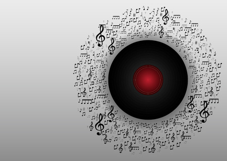 Abstract music with note Disk background vector Illustration