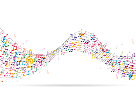 Abstract Background with Colorful Music notes Vector Illustration  イラスト・ベクター素材
