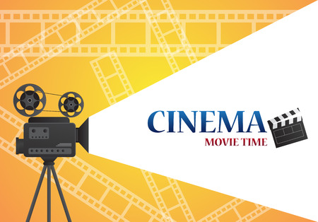 roll paper: Movie cinema poster design. Vector template banner for show