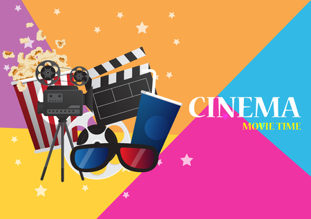 Movie cinema poster design. Vector template banner for show with seats, popcorn, tickets