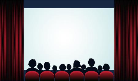 Kino plakat z publicznością, ekranem i czerwone zasłony. Ilustracja wektorowa Ilustracje wektorowe