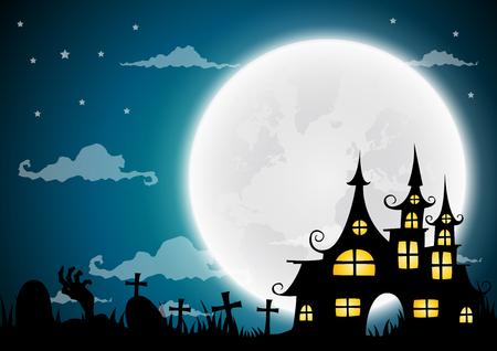 Halloween night background, haunted house and full moon.Vector illustration. Illustration