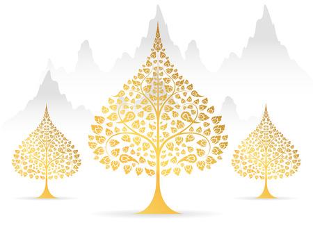 태국 전통 벡터의 Bodhi 나무와 잎 골드 컬러