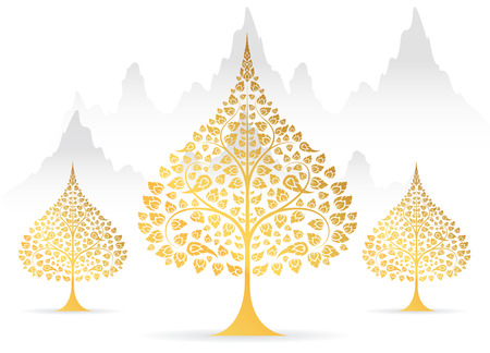 Bodhi tree and leaf gold color of thai tradition vector