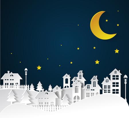 paper art Winter Snow Urban Countryside Landscape City Village nighttime Ilustração
