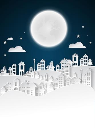 paper art Winter Snow Urban Countryside Landscape City Village with full moon nighttime Ilustração