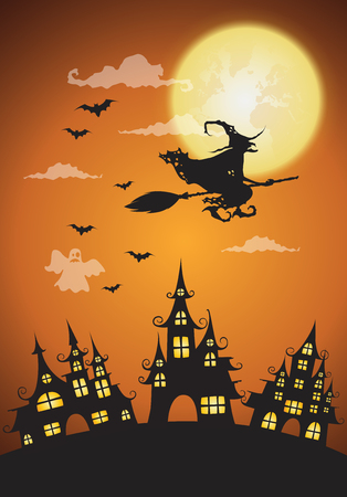 ghost house: haunted house and full moon with witch,Halloween night background.Vector illustration.