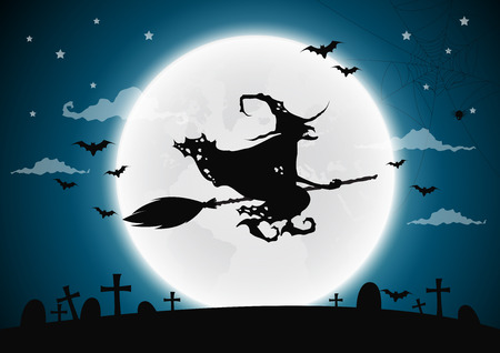 halloween background: Halloween night background with witch and full moon.Vector illustration. Illustration