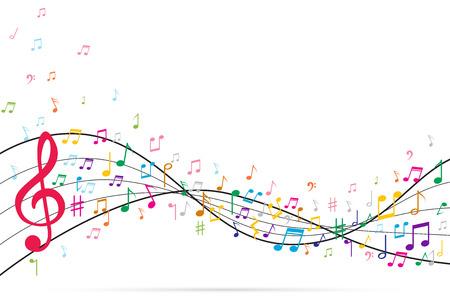 Abstracte achtergrond met muziek notities. Vector illustratie Stock Illustratie