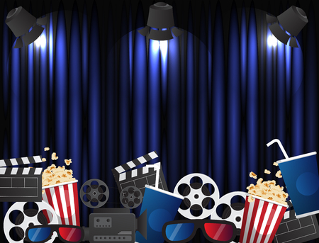 theater sign or cinema sign on curtain with spot light.vector