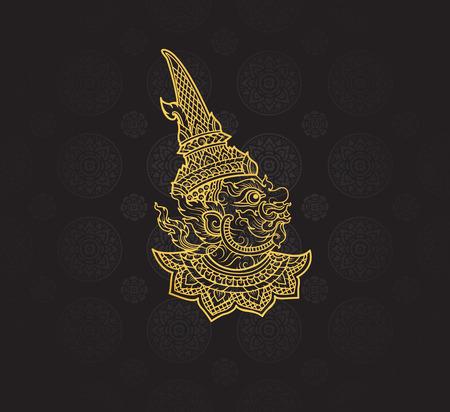 라마야나, 태국 아트 배경 무늬 벡터의 거인 일러스트