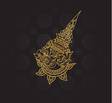 Garuda characters of Ramayana,Thai Art Background pattern vector
