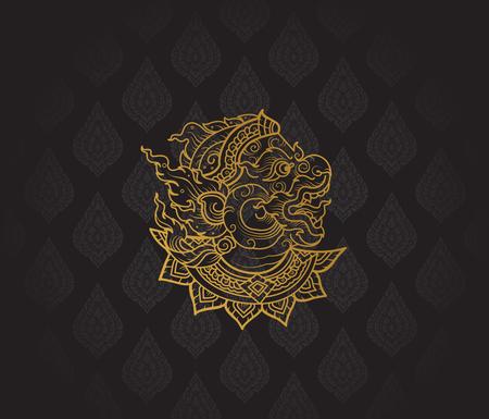 라마야나, 태국 아트 배경 무늬 벡터의 hanuman 문자 일러스트