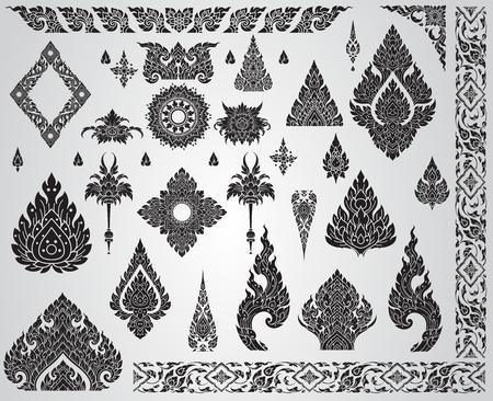 Set of Thai art element, Decorative motifs. Ethnic Art, icon vector Illustration
