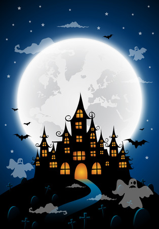ghost house: Haunted house and full moon with ghost,Halloween night background.Vector illustration.