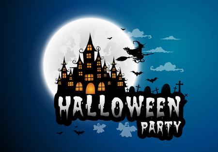 Haunted house and full moon with witch and ghost,Halloween night background.Vector illustration.