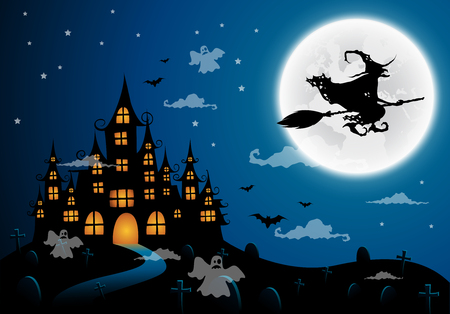 ghost house: Haunted house and full moon with witch and ghost,Halloween night background.Vector illustration.