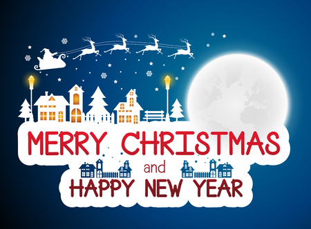 Christmas and New Years background with Santa claus on urban.vector