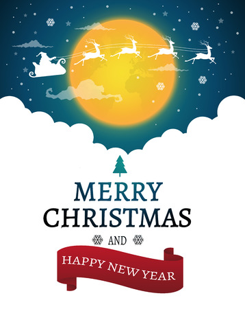 Christmas and New Years background with Santa claus on sky.vector 向量圖像