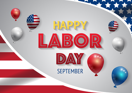 Labor day banner template decor with American flag and balloons design