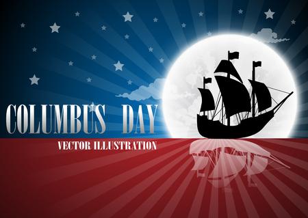 Texto de la ilustración el día de Columbus con el barco en la bandera. Foto de archivo - 85349762